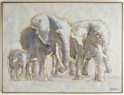 Budget Furniture - 'Metallic Elephant Family' Framed Graphic Art Print On Canvas width=