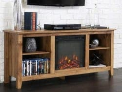 Budget Furniture - 58″ Wood TV Stand Console With Fireplace width=
