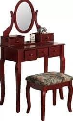 Budget Furniture - Zeke Wood Makeup Vanity Set With Mirror width=