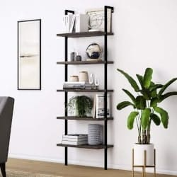Bohemian Furniture - Nathan James 65501 Theo 5-Shelf Wood Ladder Bookcase With Metal Frame