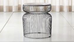 Bohemian Furniture - Spoke Hair On Hide Graphite Metal End Table