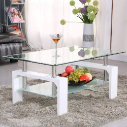 minimalist family room furniture - Rectangle Glass Coffee Table