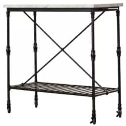 minimalist kitchen furniture - Kitchen Island with Metal Open Shelf