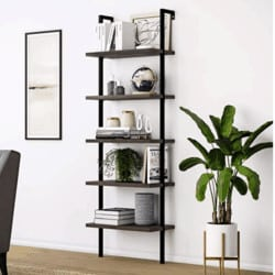 minimalist bohemian furniture - Nathan James 65501 Theo 5-Shelf Wood Ladder Bookcase with Metal Frame