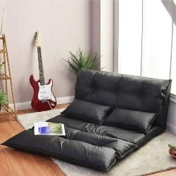 apartment furniture - Giantex Floor Sofa PU Leather Leisure Bed Video Gaming Sofa