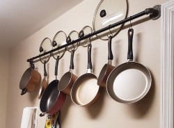 apartment furniture - Kitchen Pots and Pans Hanging Wall Storage