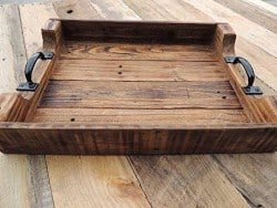 apartment furniture - Rustic Wood Ottoman Table Serving Tray