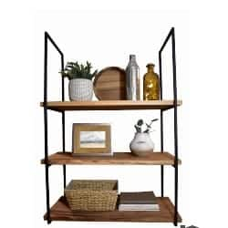 apartment furniture - Wall-Mounted Minimalist Square Framed Iron Floating Shelf Brackets