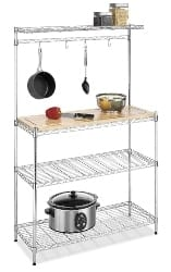 apartment furniture - Whitmor Supreme Baker's Rack with Food Safe Removable Wood Cutting Board