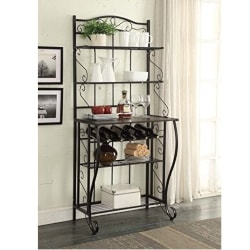 traditional furniture - 5-tier Black Metal Cappuccino Finish Shelf Kitchen Bakers Rack