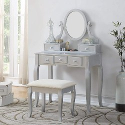 traditional furniture - Ashley Silver Wood Makeup Vanity Table and Stool Set
