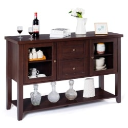 traditional furniture - Buffet Cabinet Sideboard with Two Drawers and Glass Doors Console