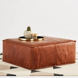 traditional furniture - Lyle Leather Ottoman