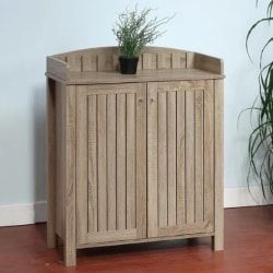 traditional furniture - Slatted Pattern Shoe Storage Cabinet with Molded Top
