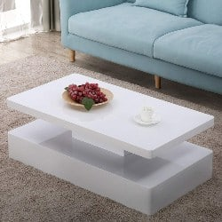 modern living room furniture - sy-White-Coffee-Table-W_LED-Lighting