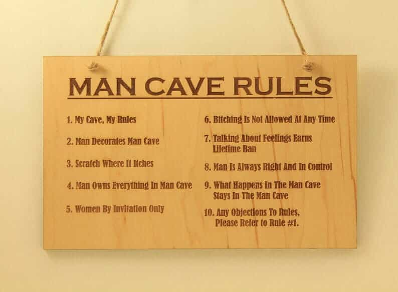 27. Man cave rules sign