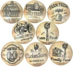 36. Set of 8 Vintage Farmhouse Wood Cabinet Knobs (1)