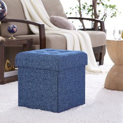 9. Foldable Tufted Linen Storage Ottoman (1)