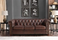 Best Living Room Furniture - Hydeline Stanwood 100% Leather Sofa Set