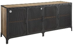 Best Living Room Furniture - Urban Industrial Rustic Oak TV Stand With Metal Mesh Doors