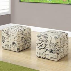 Cheap bedroom furniture ideas - Monarch 2 piece French script print ottoman