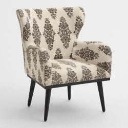 Cheap bedroom furniture- Espresso And Ivory Print Loretta Wingback Chair