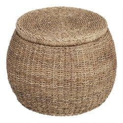 Cheap bedroom furniture- Round Rattan And Seagrass Eric Storage Ottoman