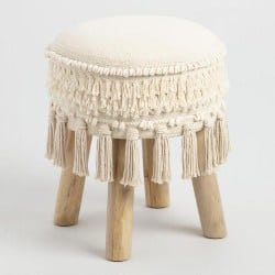 Cheap bedroom furniture- White Stool With Tassels