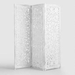 Cheap bedroom furniture- Whitewash Carved Zaria Wood Screen