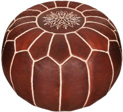Moroccan Leather Pouf (1)
