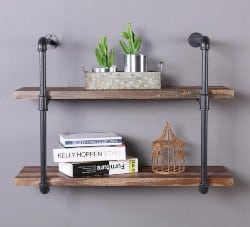 bedroom furniture - 2-Shelf Rustic Pipe Shelving Unit