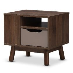 bedroom furniture - Abella Walnut Brown & Gray Wood Nightstand