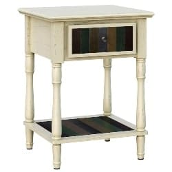 bedroom furniture - Bedside Table with Turned Wood Legs
