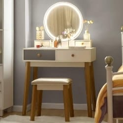 bedroom furniture - CHARMAID Vanity Set with 3 Color Touch Screen Dimming Mirror