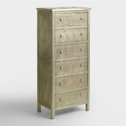 bedroom furniture - Embossed Metal Kiran Tall Dresser
