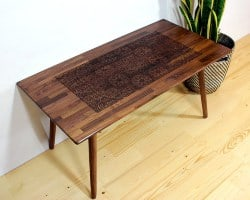 bedroom furniture - Engraved Walnut Coffee Table