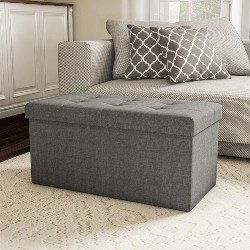 bedroom furniture - Large Folding Storage Bench Ottoman