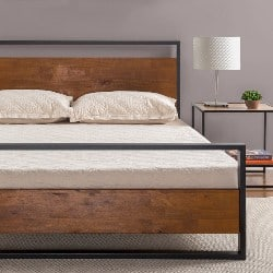 bedroom furniture - Metal and Wood Platform Bed with Headboard and Footboard