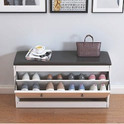 bedroom furniture - Slow Time Shop US Shoe Storage Bench with Flip-Drawer
