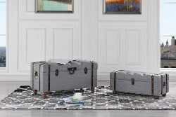 bedroom furniture - Sofamania 2-Piece Classic Tufted Linen Fabric Storage Chests