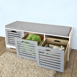bedroom furniture - Storage Bench with 3 Drawers & Padded Seat Cushion