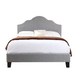 bedroom furniture - Upholstered Bed With Nailhead, Padded Headboard, And Platform-Style Base