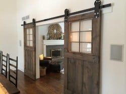 Vintage custom sliding barn door with windows