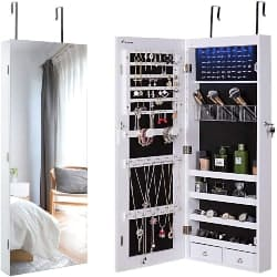 cheap bedroom furniture- Wall Jewelry Cabinet Armoire With Mirror