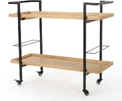 56. Industrial Natural Wood Bar Cart (1)