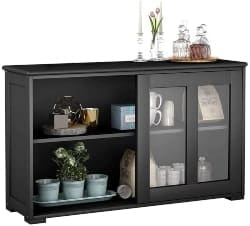 69. Sideboard Buffet Storage Cabinet with Glass Door,
