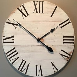 Large Off White Rustic Wood Clock (1)