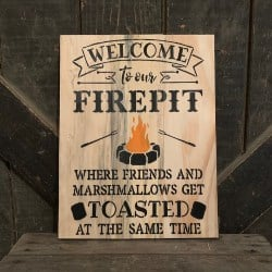 Pallet patio furniture-Welcome to Our Firepit Where Friends and Marshmallows Get Toasted Hanging Pallet Wood Sign (1)