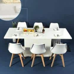 dining room furniture - Extensible Dining Table Flexible Seating Wooden Oak White Desk