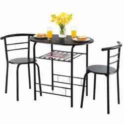 Giantex 3 Piece Dining Set Compact 2 Chairs and Table Set with Metal Frame and Shelf Storage